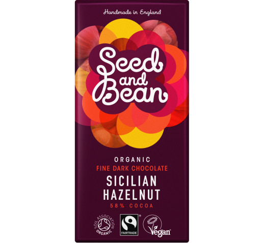 Seed and Bean - Organic Fine Dark Chocolate Sicilian Hazelnut 85 g